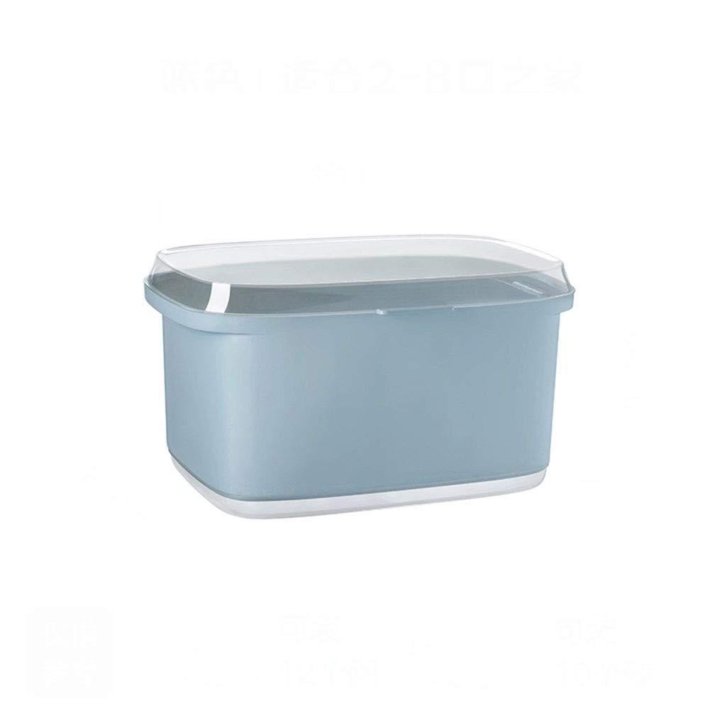 Kitchen Storage Box Kitchen Shelf Drainage With Cover Dustproof Large Capacity Porous 24.444.531cm (Color : Blue, Size : 44.53124.4cm)