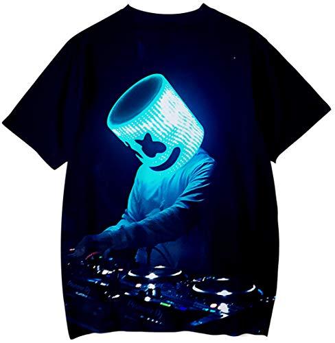 3d Dj Pop T Sorridente Nero Uomo Cool Manica Stampa Emilyle Elettrico shirt Faccia In Maglietta Corta Marshmello Suono Edm Hip Stampata 5L43ARj