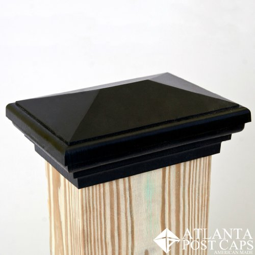 4x6 Black Pyramid Post Cap - 10 Year Warranty