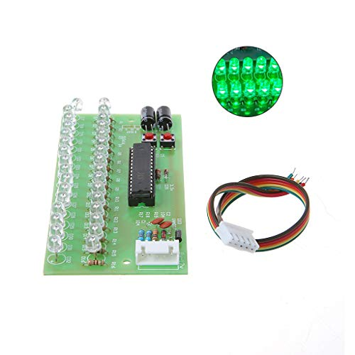 16 LED Dual Channel Audio Level Indicator Light DIY Power Amplifier Lamp Blue/Green/Red Option Light DC 8V-12V VU Meter Module