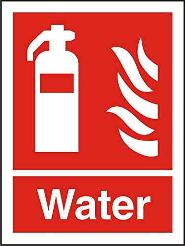 Seco Fire Extinguisher, Fire & Water Sign, 200mm x 300mm - Photoluminescent Self Adhesive Vinyl