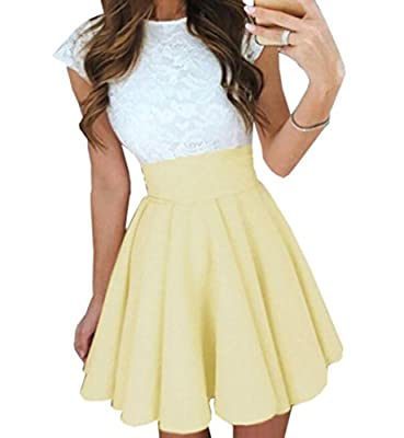 XiaoTianXin-women clothes XTX Women's A Line Pleated Circle Stretchy Flared Skater Mini Skirt