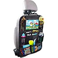 Car Backseat Organizer with Tablet Holder, 8 Storage Pockets Seat Back Protectors Kick Mats for Kids Toddlers, Travel Accessories, Black,