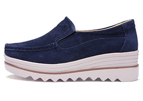 DADAWEN Women's Slip-on Moccasins Low Top Platform Wedge Thick Heel Walking Shoes Blue br3Qy8esr3