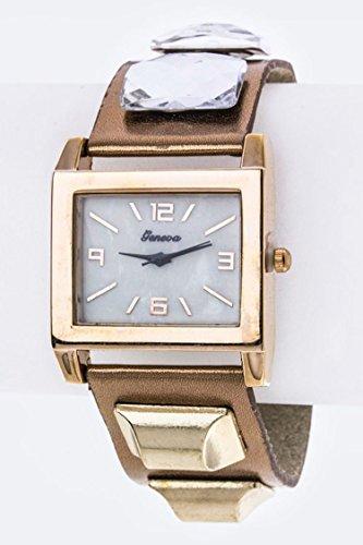 Studded Cuff Watch (Karmas Canvas Crystal & Metal Studded Cuff Watch (Rosegold))