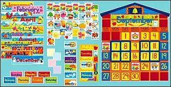 Scholastic 978-0-439-39405-5 All-In-One Schoolhouse Calendar Bulletin Board (Board Schoolhouse Bulletin Set)