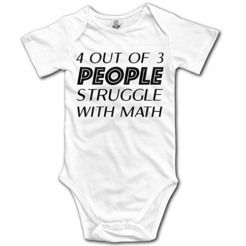 SmallHan 4 Out of 3 People Struggle with Math Unisex Particular Infant Romper Baby Boy Play Suit 18 Months White