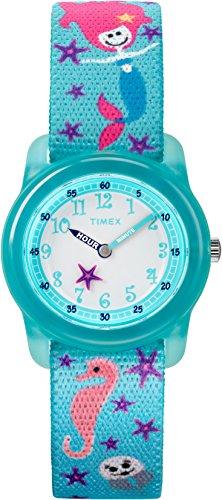 Timex Youth TW7C13700 Kid's Elastic Mermaid Imprint Fabric Band Time Teacher Watch