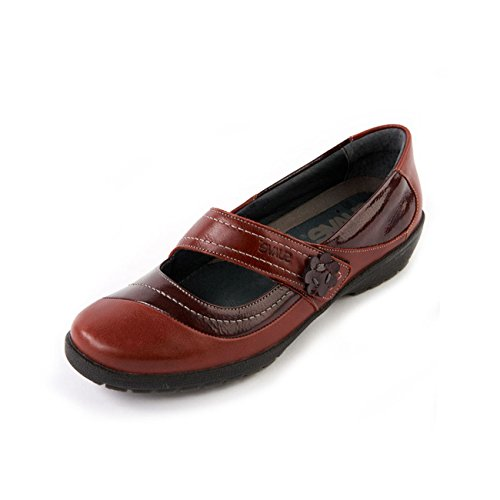 Removable Shoe Leather Footbed Touch Burgundy Women's Suave Fastening Wide Insole Washable Cushioned amp; Cherry Fit 'Joy' EE E qp6zx54