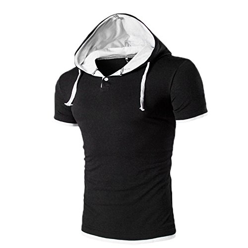 Mens Hoodie T-Shirt,ST.Dona Hoodie Pullover Short Sleeves Summer Blouse T-Shirt (M, White) Don Hoody