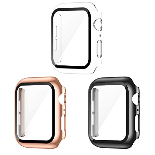 AVIDDA 3 Pack Case with Tempered Glass Screen Protector for Apple Watch 38mm Series 3/2/1, Slim Guard Bumper Full…