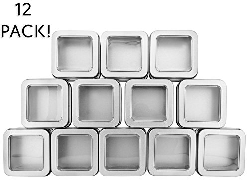 Square Silver Metal Tins w/ View Window (12-Pack); Empty 1/2 Cup / 4-Ounce Capacity Clear Top Metal Boxes Great for Candles, Candies, Gifts, Balms & Treasures