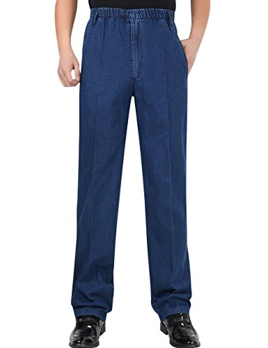 Zoulee Men's Full Elastic Waist Denim Pull On Jeans Straight Trousers Blue 36 ()