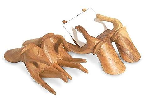 Deko Figur Hände Halter Für Visitenkarten Aus Soar Wood Holz Braun Länger 15 Cm Handmade Ständer Theketresen Für Kärtchen Gutscheine
