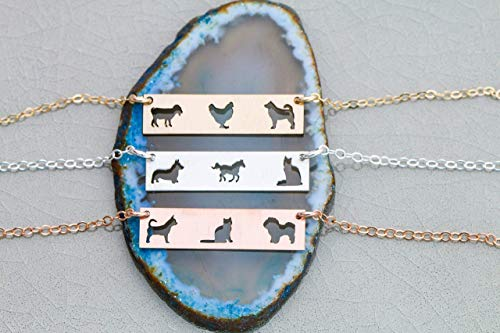 Three Pets Family Custom Dog BAR Necklace - IBD - Layering Charm - Personalize with Animal Breed - Choose Chain Length - 935 Sterling Silver 14K Rose Gold Filled - Ships in 1 Business Day