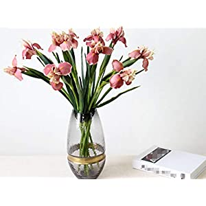 Skyseen 6Pcs Artificial Silk Flower Bridal Real Touch Iris Flower for Wedding Party Banquet Home Decoration Pink 98