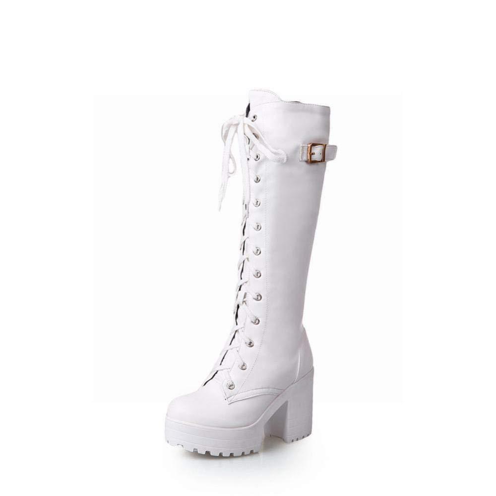 XZ Frauen Frauen Frauen Stiefel - Herbst Und Winter Anti-Schnürung High Heel Stiefel Mode Retro Warme Stiefel 36-43 747531