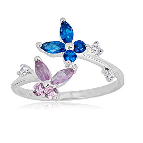 AVORA 925 Sterling Silver Adjustable Butterfly Toe Ring with Pink and Blue Simulated Diamond CZ
