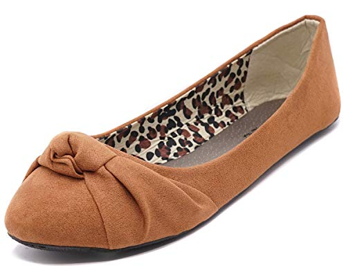 Charles Albert Women's Knotted Front Canvas Round Toe Ballet Flats (9, Cognac Suede) ()