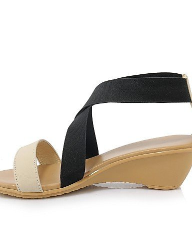 Casual Shangyi Cuir En Blanc Sandales Amande Amande Synthétique Compensé Chaussures Nappa Coins Talon Femmes wxRqY5aav