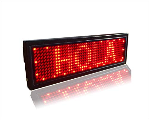 Ultra bright LED Mini display with rechargeable battery, USB Programmable LED Name badge Pin Magnet , Indoor scrolling LED Display sign for party, store, school use--Red ()