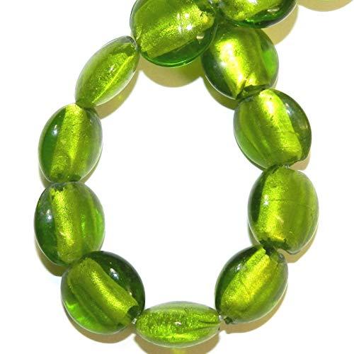 (Flat Puffed Round Lampwork Glass Beads 16