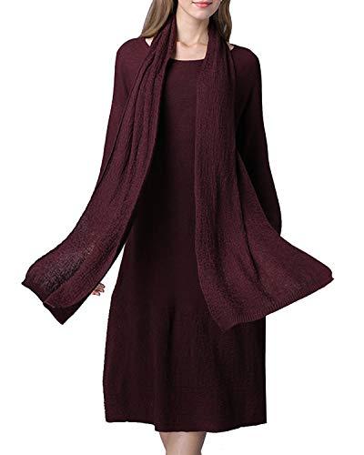 Size Abito Red Donna Da A color Size Con Maniche E One Eleganti Felicigg Sciarpa Wine Lunghe Blue q7padqx