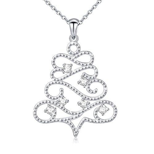 "Creative Jewelry Rhodium-Plated White Cubic Zirconia Christmas Tree Pendant Necklace, 18"""