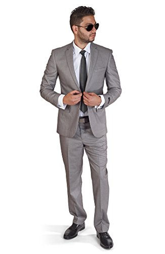 Button Super Fine Wool Suit - AZAR MAN Slim Fit Men's Silver Grey 2 Button Notch Lapel Suit by (38 Regular 32 Pants)