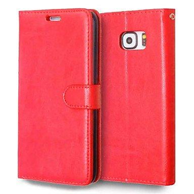 Casos hermosos, cubiertas, Alta calidad de la PU billetera de cuero caja de la pistolera del teléfono móvil para el borde de la galaxia s6 plus borde s6 / activo / ( Color : Azul , Modelos Compatibles Rojo