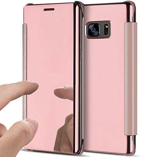 PHEZEN Galaxy Note 5 Case, Luxury Mirror Makeup Case Plating Clear View PU Leather Flip Folio Case Magnetic Closure Full Cover Case for Samsung Galaxy Note 5 (Rose Gold) by PHEZEN