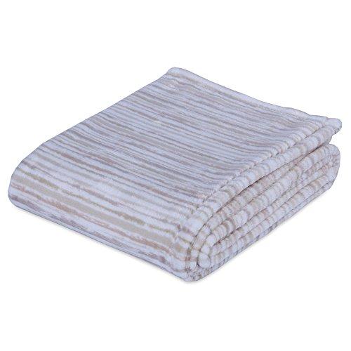 Berkshire Blanket Artists' Stripe VelvetLoft Blanket Plush Throw, Neutral