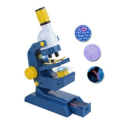 Kidcia Scientoy Microscope for Kids, 100X,400X and 1200X Magnification with Prepared Slides,Science Toys for Children, Blue/Yellow?