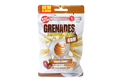 Grenades, Explosively Intense Sugar Free Chewing Gum (Coffee Chaos, 1 Pack)