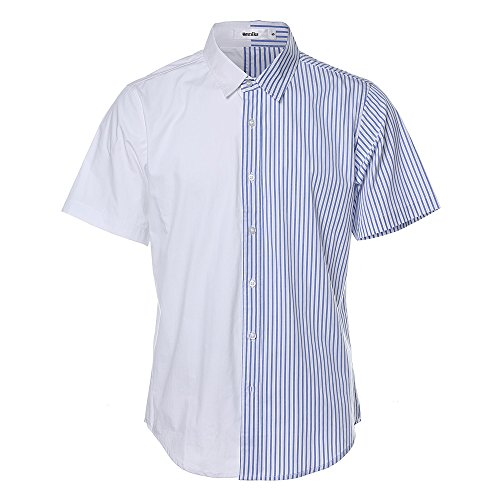 HEMIKS Cotton Stripes Button Buckle Men`s T-Shirt (Blue, L) by HEMIKS