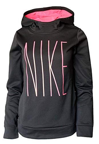 (Nike Girl's Therma Fleece Hoodie Black Pink AJ6797 010 (s))
