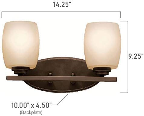 Kichler 5097OZ Bath Vanity Wall Lighting Fixtures, Bronze 2-Light 15 W x 10 H 200 Watts