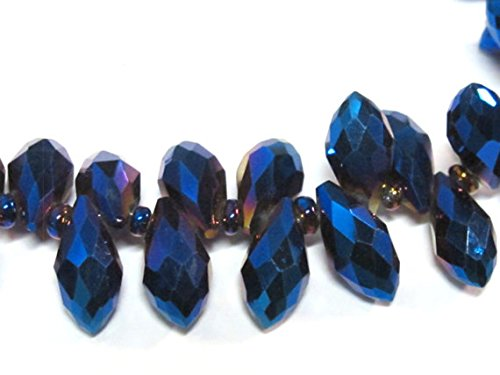 10 glass beads - Faceted teardrop shape titanium blue color shiny crystal glass beads - AB066 Crystal Transparent Briolette