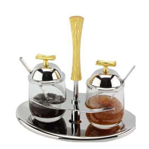 Gorgeous Matte Gold Two Tone 18/10 Stainless Steel Double Jam Jar with Lid and Serving Spoons Dish Set