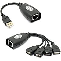 CY USB Keyboard Mouse Over RJ45 CAT5E CAT6 Cable Extension Extender 4 Ports Hub Cable Adapter