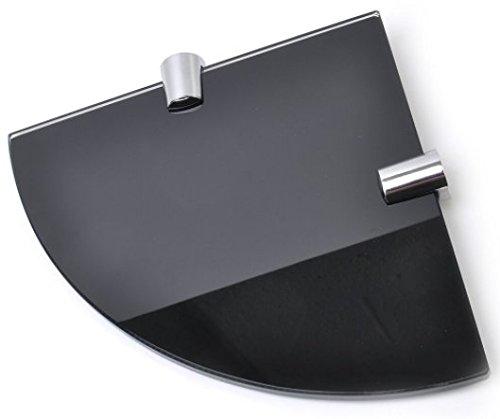 Mensola angolare spessa 6 mm, colore nero lucido, in vetro temperato, dimensioni 150mm, per bagno, camera, cucina dimensioni 150mm BSM Marketing