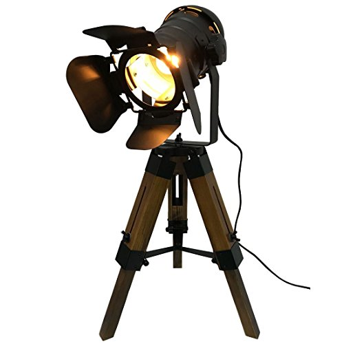 (Decoluce Vintage Adjustable Cinema Table Lamp - Nautical Black Retro Style Tripod Spotlights Searchlights Wooden Tripod Floor Lamp Cinema Movie Props-Not Include E26 Bulbs (Cinema))