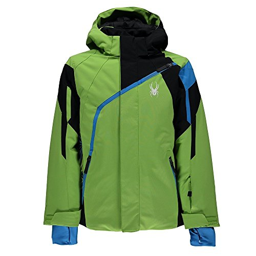 Spyder Boy's Challenger Ski Jacket, Fresh/Black/French Blue, Size 10 Spyder Boys Jacket