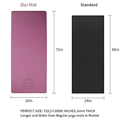 LetsFunny Non Slip Yoga Mat, Thick Eco Friendly Large Yoga Mats with Carrying Strap for Women,Men - 1/4-Inch SGS Certified TPE Exercise Anti-Tear Workout Mat for Pilates Yoga Fitness