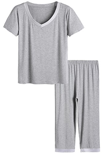 Pajama Plus Top Size (Latuza Women's Sleepwear Tops with Capri Pants PJs 3X Light Gray)