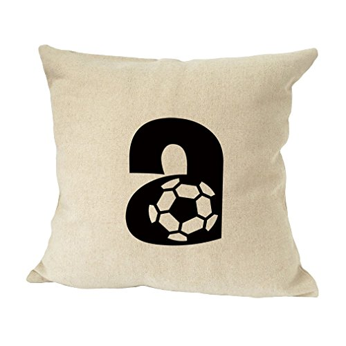 A Soccer Initial Monogram Letter A Bed Home Decor Faux Linen Pillow Cover by Style in Print