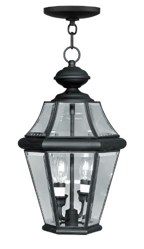 Rail Lighting Landscape Fixture - Livex Lighting 2265-04 Georgetown 2-Light Outdoor Hanging Lantern, Black