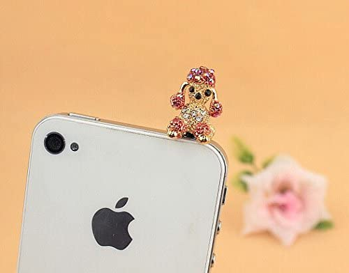 DP 27-30 Blue Adorable Cell Phone Headphone Jack Dust Plug Jeweled Hanging Cat Design in Black White /& Pink with Rhinestone Accents