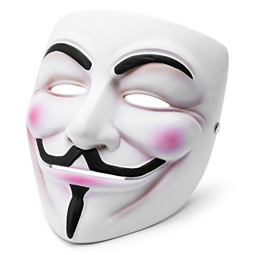 AWANFI Anonymous Mask Masquerade Vendetta Guy Fawkes Mask Halloween Costume Deluxe Adult Cosplay for Men or Women White -
