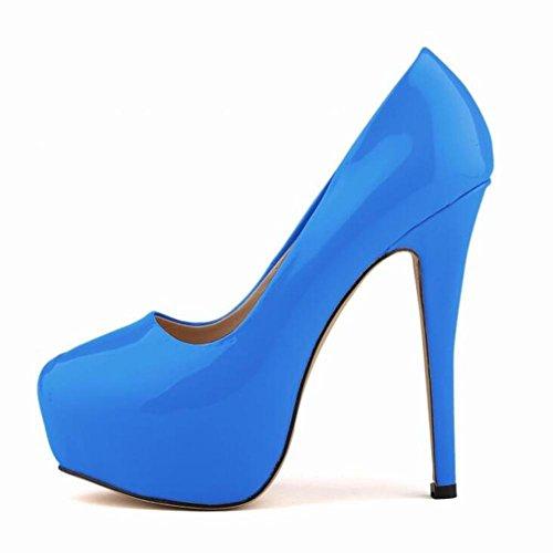 PU Single Waterproof Table L Shoes YC Wedding Nightclub High Heels Women Green Pump Dance qXSwY